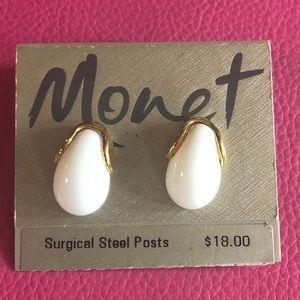 Monet White & Gold Tone Earrings